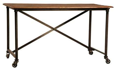 made postobello industrial metal and rustic wood desk