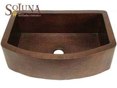 lead free copper sinks soluna copper rounded apron farmhouse kitchen sink 33 quot x22