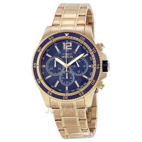 invicta specialty blue chronograph gold tone
