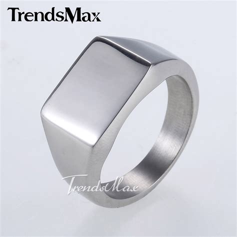 Cincin Titanium Smooth Signet Square Buy Wholesale Silver Signet Rings From China Silver