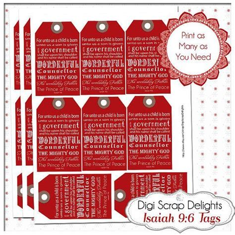 red christmas gift tags bible verse isaiah 9 6