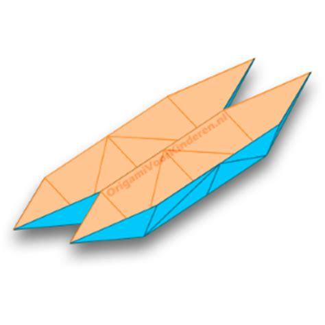 bootje vouwen vierkant papier catamaran boot 1 makkelijk origami voor kinderen