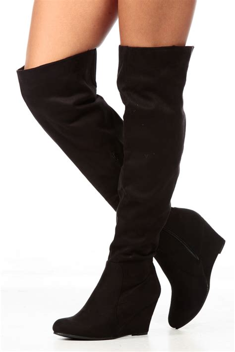 black faux suede the knee wedge boots cicihot boots
