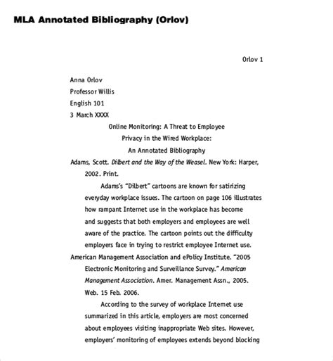 Mla Annotated Bibliography Template 8 blank annotated bibliography templates free sle