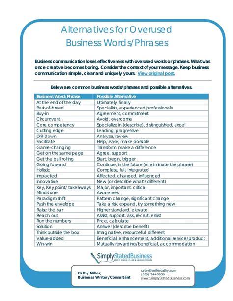 overused resume phrases alternatives 25 overused business words phrases
