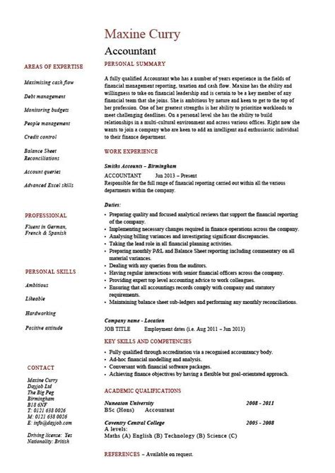 accounting resume template accountant resume exle accounting description