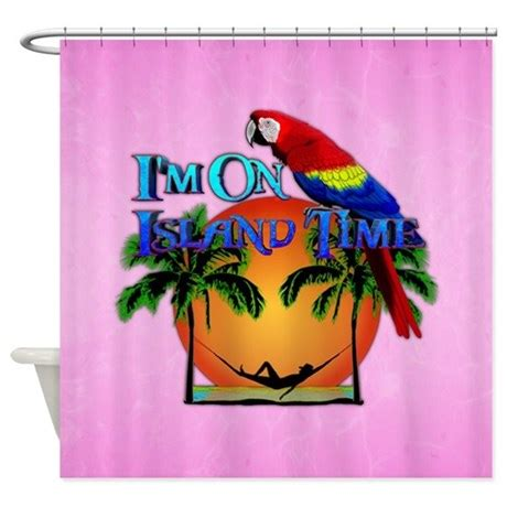 island shower curtain island time pink shower curtain by bailoutisland