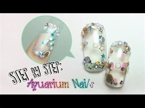 aquarium nail art tutorial 3d gel nail art tutorial handmade water globe nail doovi
