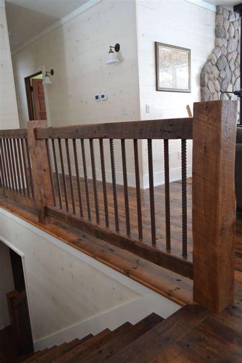 reclaimed wood timber stair railings  loft railing