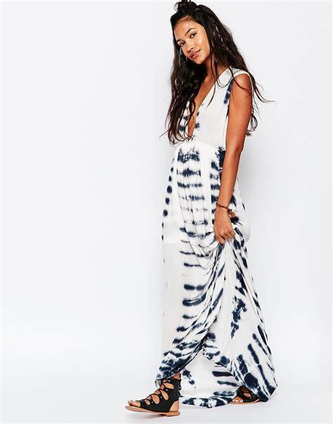 Kaos Surf Print 3 surf tie dye maxi dress in black lyst