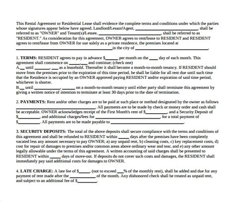 7 Landlord Lease Agreements Sles Exles Formats Sle Templates Free Landlord Lease Agreement Template
