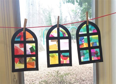 How To Make Paper Windows - stain glass church window craft used colored tissue paper