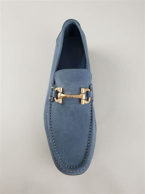 blue ferragamo loafers ferragamo giordano loafers in blue for lyst
