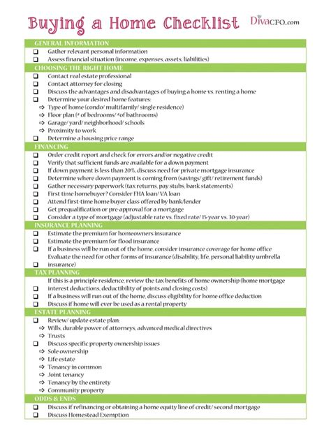 printable new house checklist free printable buying a home checklist my new home