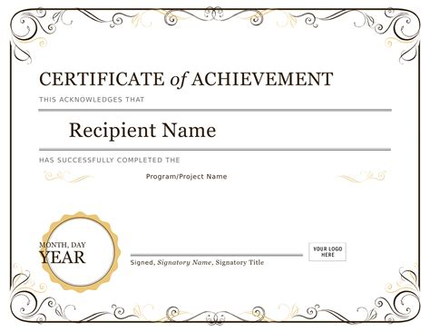certificate template free free template for certificate of achievement gallery