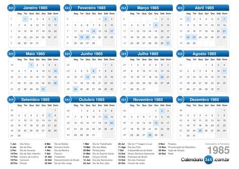 Calendario De 1985 Calend 225 1985