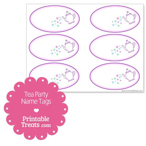 Printable Name Tags For Tea Party | printable tea party name tags printable treats com