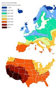 europe vs the united states sunlight in hours per year