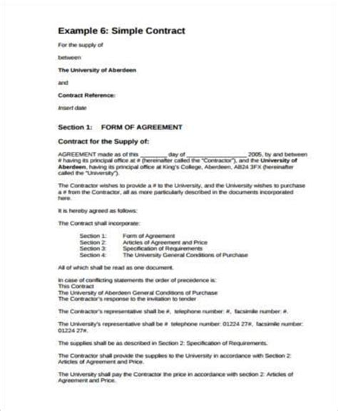 general contract agreement general agreement form sles 9 free documents in word