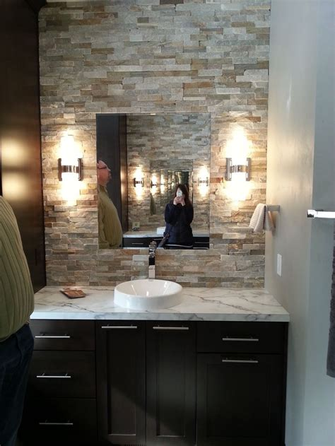 bathroom stone wall stone accent wall in bathroom for the home pinterest