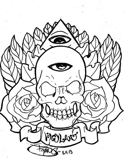 tattoo outline paper skull eye tattoo ink outline by bryanchalas on deviantart