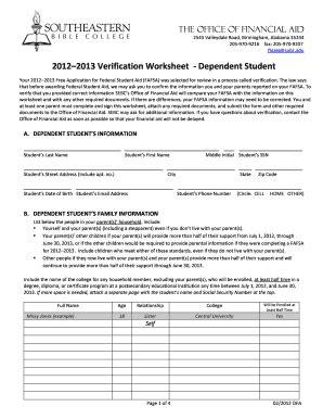 Verification Worksheet For Dependent Students by Uconn Verification Worksheet For Dependent Student Fill