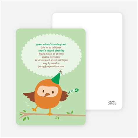 Funky Brown Khaki Second 100 Mulus whoo yeah owl birthday invitations fresh mint