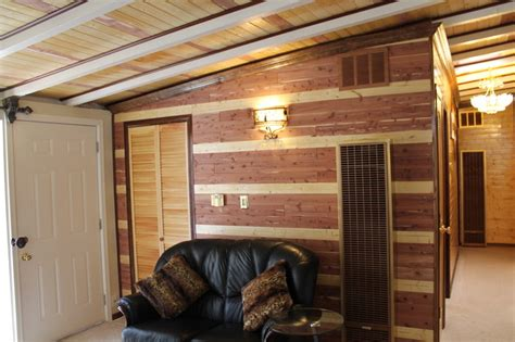 decorating a wall in an eichler house using cedar planks