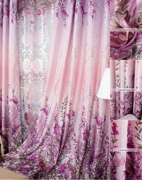 purple flower curtains favorite country purple floral energy saving curtains