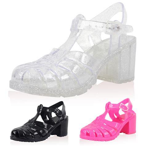 plastic shoes new block heel womens plastic summer jelly