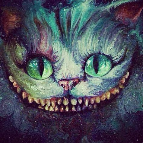 cat art trippy high acid psychedelic alice wonderland