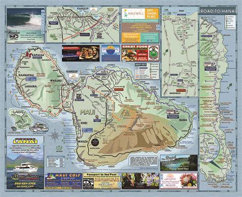 printable road map maui hawaii maui road map menehune maps
