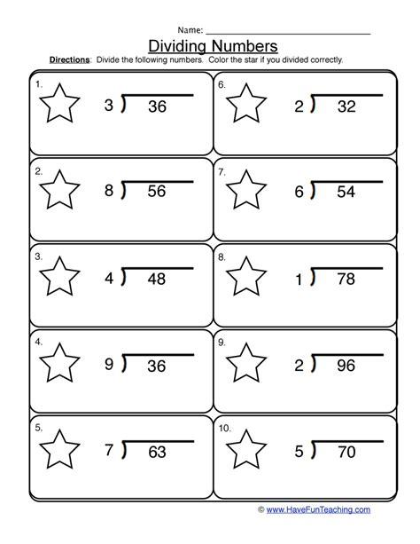 dividing 1 into 2 digit worksheet 1