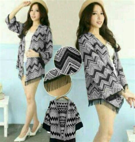 Sweater Black List Modis Murah model cardigan kimono motif cantik terbaru modis murah