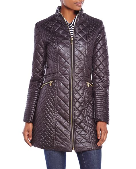 Via Spiga Quilted Coat by Via Spiga Asymmetric Pebble Quilted Coat With Faux Fur