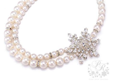 Rhinestone Snowflake Necklace wedding necklace strands swarovski pearl rhinestone