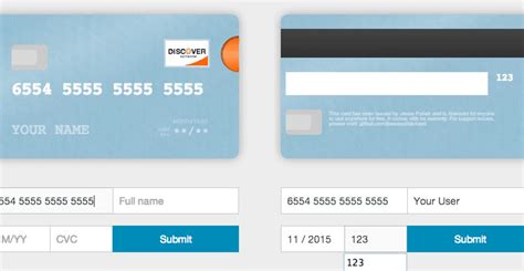Credit Card Template Css Card Js Better Credit Card Form In One Line Of Code Web Resources Webappers