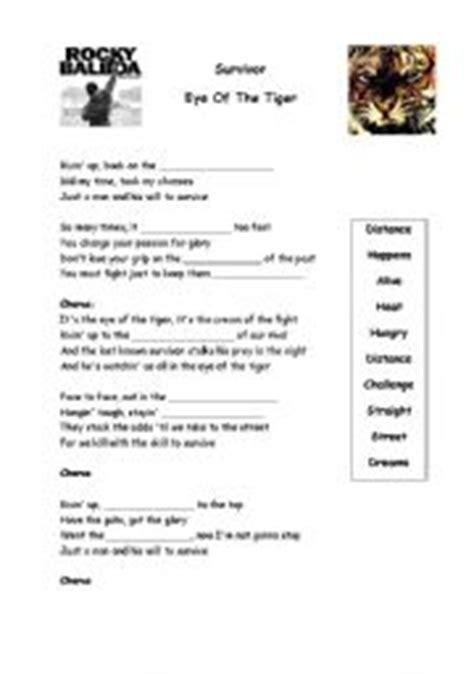 printable lyrics eye of the tiger english worksheets eye of the tiger lyrics