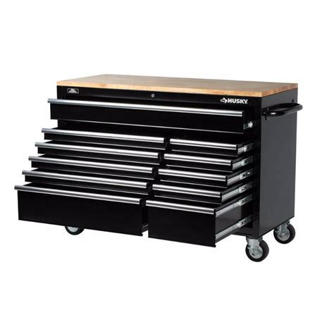 Husky 52 In 11 Drawer Mobile Workbench With Solid Wood by Husky 52 In 11 Drawer Mobile Workbench With Solid Wood
