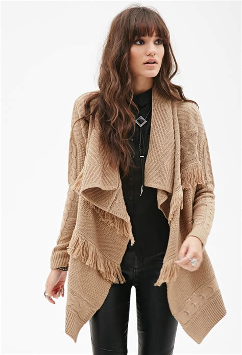 knit cardigan forever 21 lyst forever 21 cable knit fringe cardigan in brown