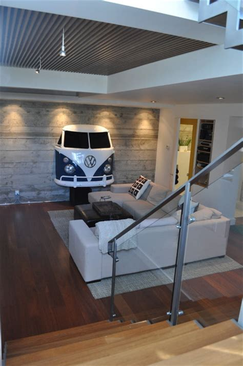 basement addition exposed concrete walls wood grille ceiling