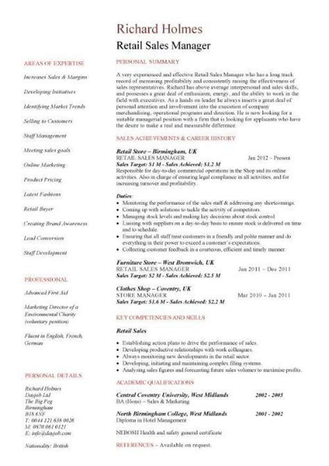 resume exles for retail sales manager resume ixiplay