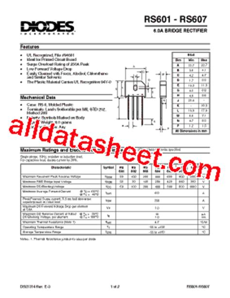 diodes and rectifiers pdf rs605 datasheet pdf diodes incorporated