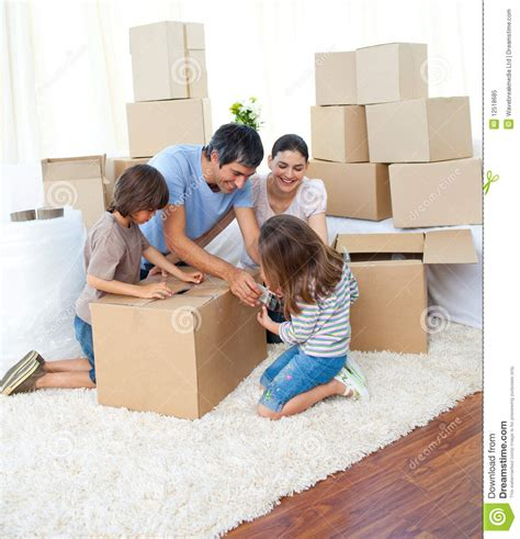 packing moving animated family packing boxes royalty free stock photo