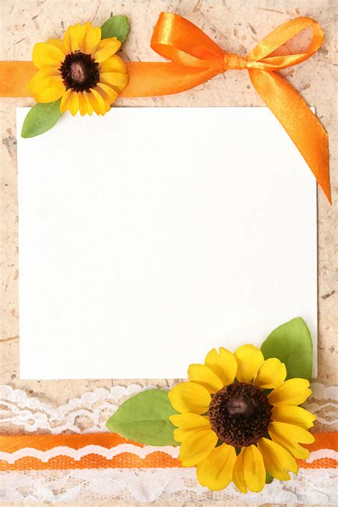 Free Thank You Sunflower Card Templates by ひまわりの画像 イラスト フリー素材 壁紙 背景no 173 ひまわり リボン 紙