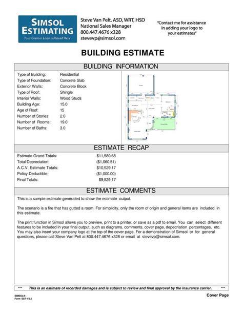 construction estimate templates word