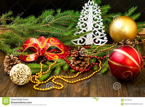 decorative branches with beads carnival mask spruce branches beads new year card stock