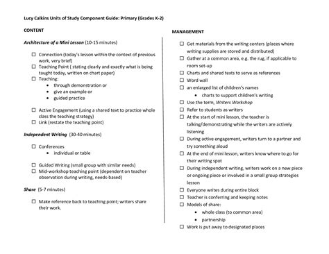 reading workshop lesson plan template calkins lesson plan template calkins units of