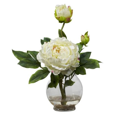 peony floral arrangement peony with fluted vase silk flower arrangement ebay