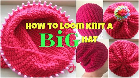 how to knit a hat in the how to loom knit a big hat for beginners